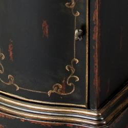 Hand-Painted Black Wooden Accent Chest - Thumbnail 2