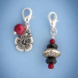 Fashion Forward Howlite and Malaysian Jade Hibiscus Charm Duo