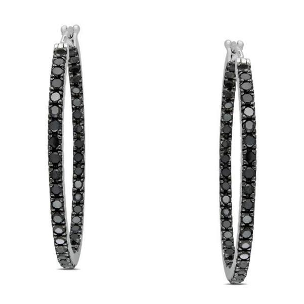 Miadora Sterling Silver 2 1/5ct TDW Black Diamond Hoop Earrings