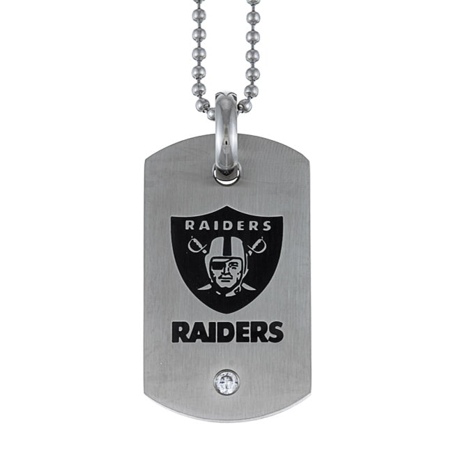 Stainless Steel Cubic Zirconia Oakland Raiders Dog Tag