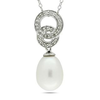 Miadora Silver FW Pearl and 1/10ct TDW Diamond Necklace (G-H, I3) (8-8.5 mm)