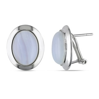 Miadora Sterling Silver White Agate Stud Earrings
