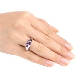 Miadora Sterling Silver Oval-cut Amethyst Ring