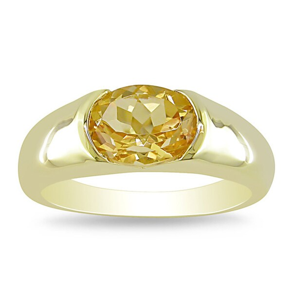 Miadora Gold-plated Sterling Silver Citrine Fashion Ring