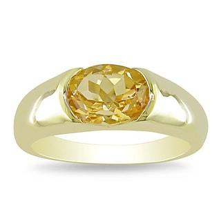 Miadora Gold-plated Sterling Silver Citrine Fashion Ring