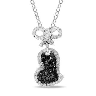 Miadora Silver 1/2ct TDW Black and White Diamond Heart Necklace