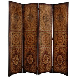 Handmade Wood and Faux Leather 6-foot Olde-Worlde Parlor Room Divider (China)