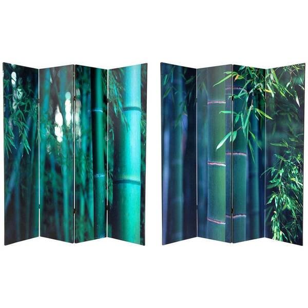 Handmade Canvas 6-foot Double-sided Bamboo Tree Room Divider (China)