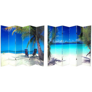 Handmade Canvas 6-foot Double-sided Ocean Room Divider (China)