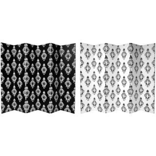 Canvas 6-foot Double-sided Black and White Damask Room Divider (China)