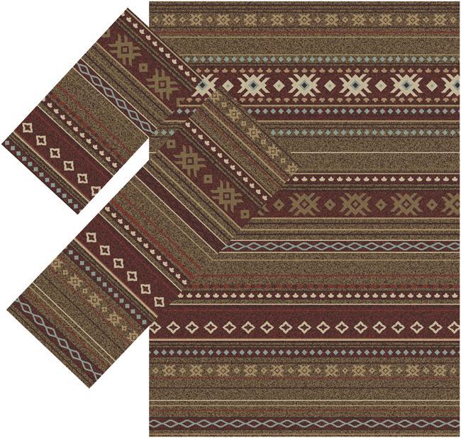 Appealing Brown Southwestern Rugs (1'8 x 2'6) (1'10 x 5'4) (4'11 x 7' )
