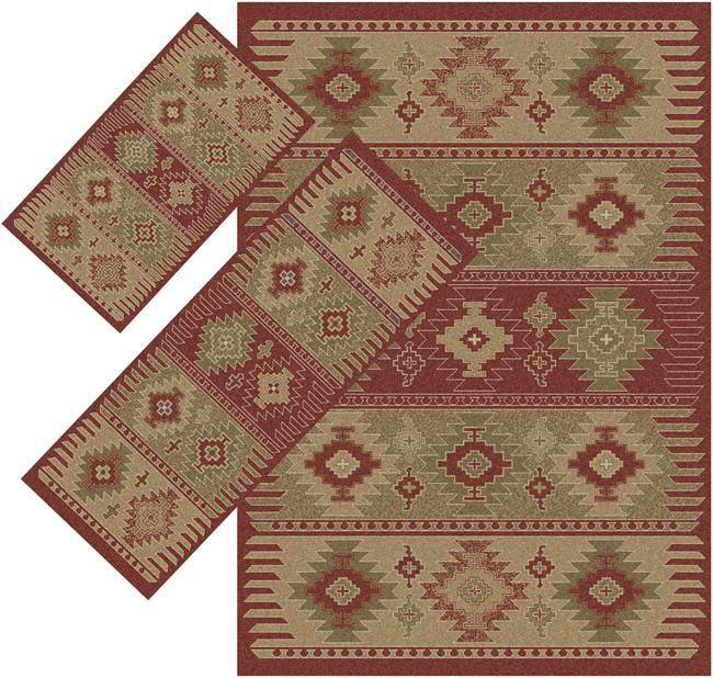 Appealing Red Southwestern Rugs (1'8 x 2' 6) (1'10 x 5'4) (4'11 x 7') - Thumbnail 0