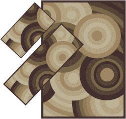 Appealing Brown Geometric Rugs (1'8 x 2'6) (1'10 x 5'4) (4'11 x 7') - Thumbnail 1