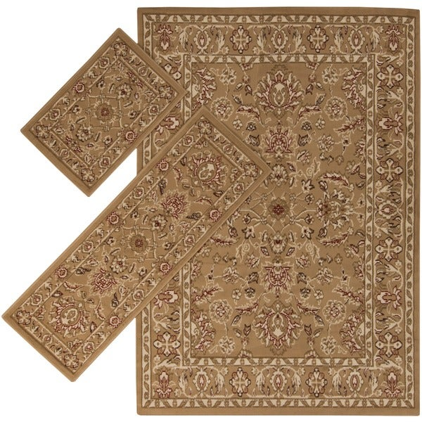 Appealing Brown Border 3-piece Rug Set (1'8 x 2'6 / 1'10 x 5'4 / 4'11 x 7')