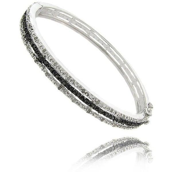 Finesque Sterling Silver 1/2ct TDW Black and White Diamond Bangle Bracelet (I-J, I2-I3)