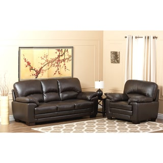 ABBYSON LIVING Charleston Premium Top-grain Leather Sofa and Armchair