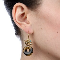 Alexa Starr Goldtone Tiger's Eye and Turquoise Donut Cluster Earrings