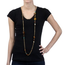 Alexa Starr Goldtone Tiger's Eye and Turquoise Long Necklace