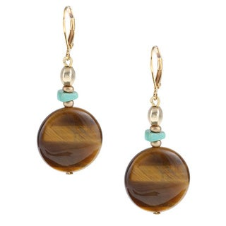 Alexa Starr Goldtone Tiger's Eye and Turquoise Drop Earrings