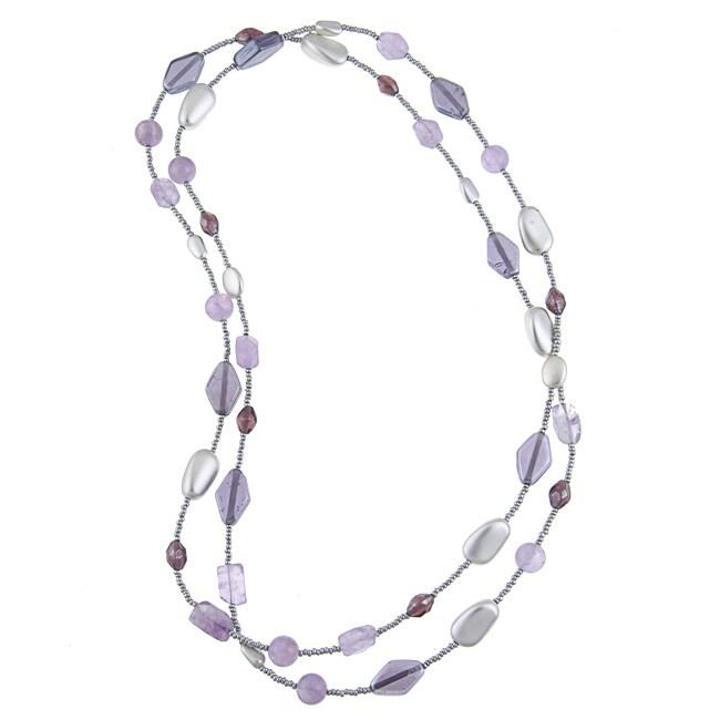 Alexa Starr Silvertone Amethyst Endless Necklace