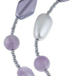Alexa Starr Silvertone Amethyst Endless Necklace - Thumbnail 1