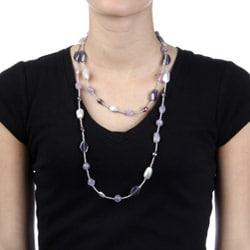 Alexa Starr Silvertone Amethyst Endless Necklace - Thumbnail 2