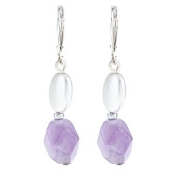Alexa Starr Silvertone Amethyst Dangle Earrings