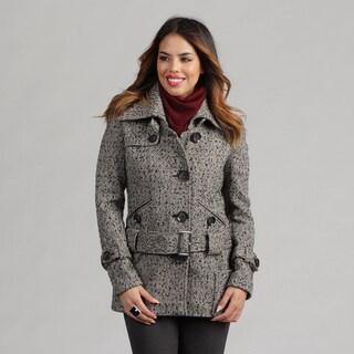 Nicole Miller Women's Herringbone Tweed Low Belted Coat