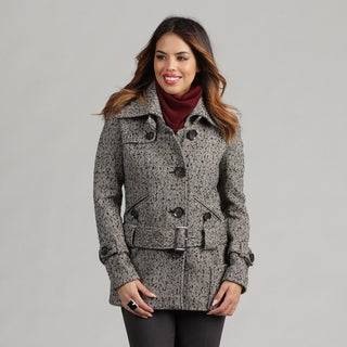 Nicole Miller Women's Herringbone Tweed Low Belted Coat - Black/White