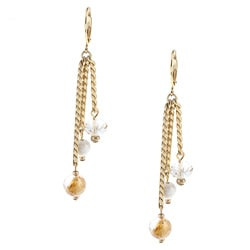 Alexa Starr Goldtone Genuine Rutilated Quartz Tassel Earrings