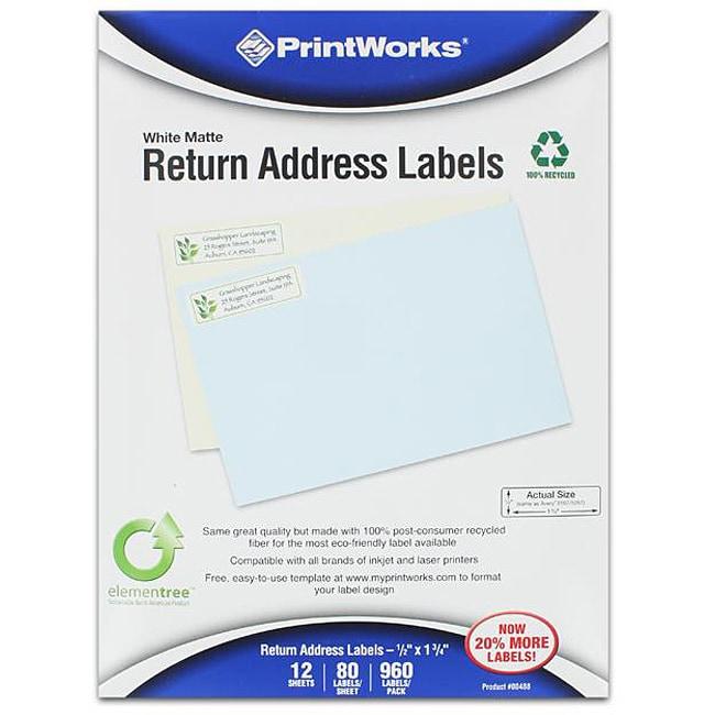 Printworks White Matte Return Address Labels (Case of 960)
