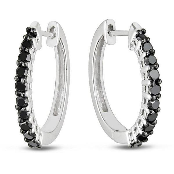 Miadora Sterling Silver 1/2ct TDW Black Diamond Hoop Earrings