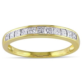 Miadora 14k Yellow Gold 1/2ct TDW Channel Diamond Wedding Band