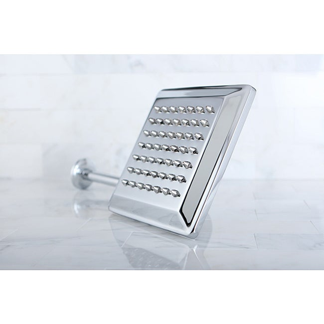 Claremont Chrome 8-in Square Metal Shower Head with Shower Arm - Thumbnail 0
