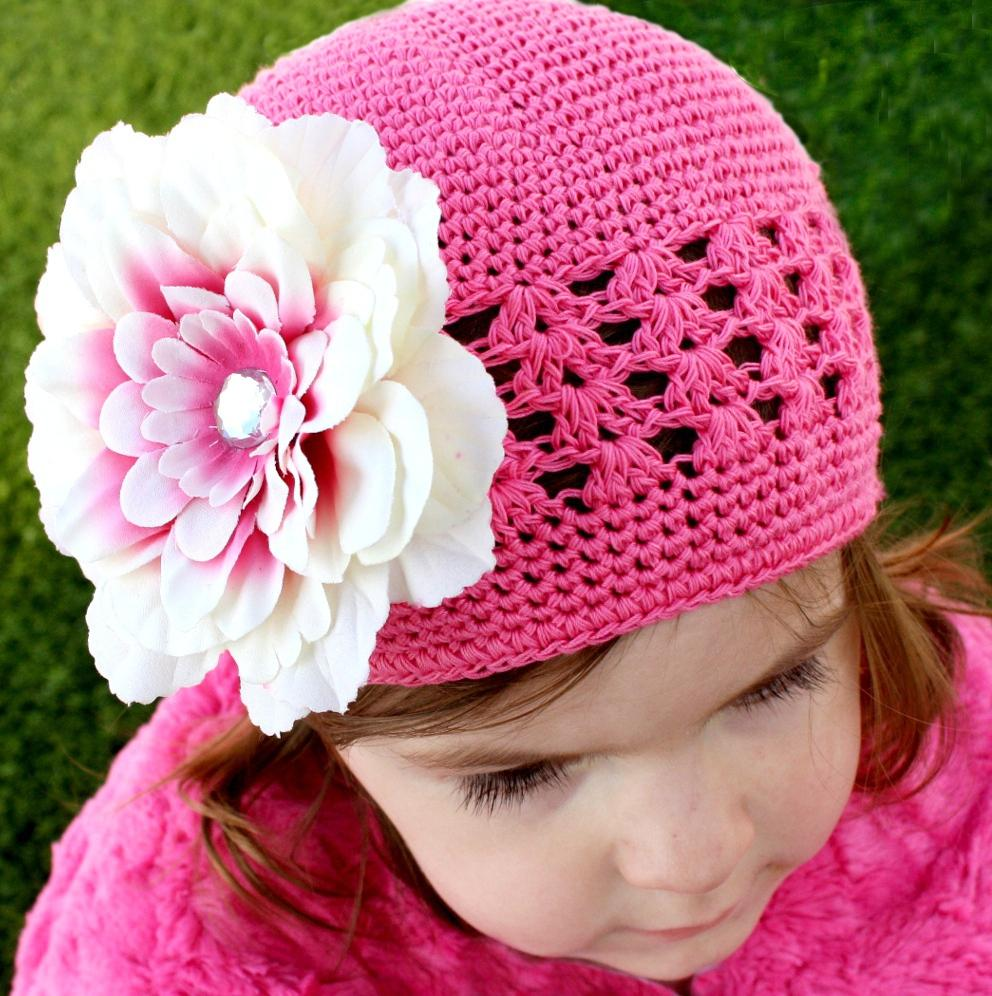 Headbandz Crochet Baby Pink Kufi Hat with Flower Clip