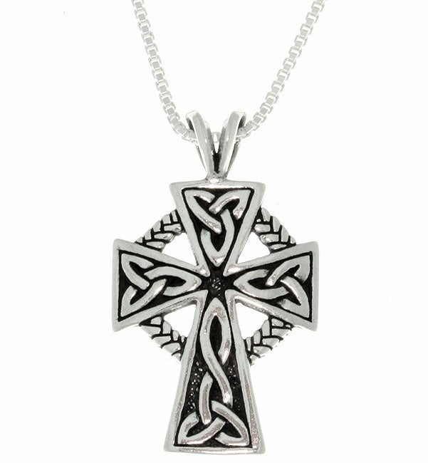 Carolina Glamour Collection Antique Finish Sterling Silver Celtic Cross Pendant (18-inch)