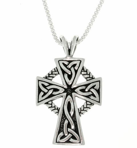 Sterling Silver Celtic Cross Trinity Knot Pendant on 18 Inch Chain Necklace