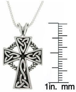 Carolina Glamour Collection Antique Finish Sterling Silver Celtic Cross Pendant (18-inch) - Thumbnail 2