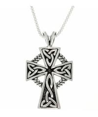 Shop carolina glamour collection sterling silver celtic protection sterling silver celtic cross trinity knot pendant on 18 inch chain necklace aloadofball Image collections