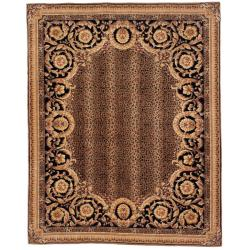 Asian Hand-knotted Leopard Brown/ Black Wool Rug (6' Square)