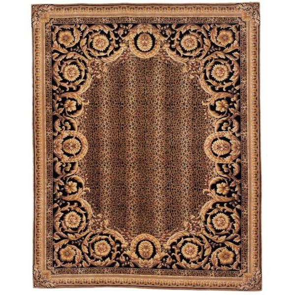 Safavieh Couture Florence Hand-Knotted Asian Leopard Brown/ Black Wool Area Rug - 8' x 10'
