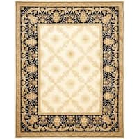 Safavieh Couture Florence Hand-Knotted Zeus Trellis Ivory/ Black Wool Area Rug (6' x 9')