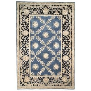 Asian Hand-knotted Zeus Trellis Blue Wool Rug (9' x 12')