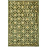 Asian Hand-knotted Trellis Green Wool Rug (6' x 9') - 6' x 9'