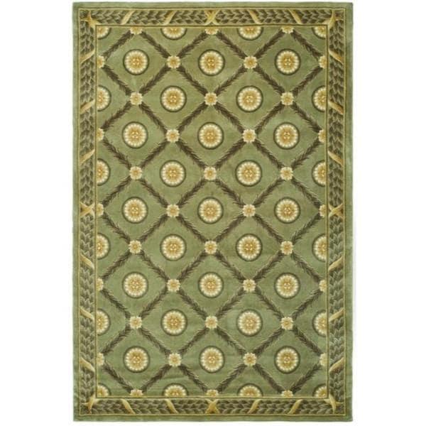 Handmade Asian Hand-knotted Trellis Green Wool Rug - 8' x 10'