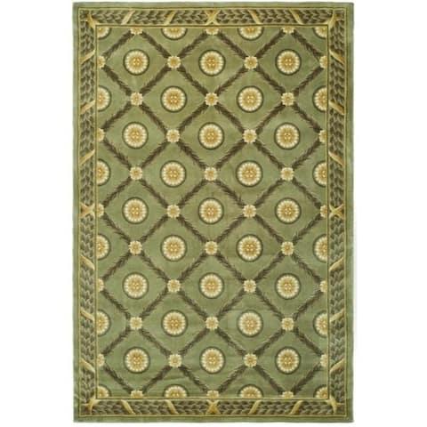 Safavieh Asian Hand-knotted Trellis Green Wool Rug