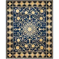 Safavieh Couture Florence Hand-Knotted Majesty Royal Blue/ Black Wool Area Rug (10' x 14')