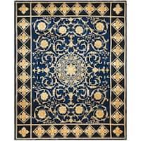 Handmade Safavieh Couture Florence Majesty Royal Blue/ Black Wool Area Rug (China)