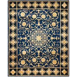 Handmade Safavieh Couture Florence Majesty Royal Blue/ Black Wool Area Rug - 6' x 9' (China)