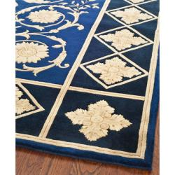 Asian Hand-knotted Majesty Royal Blue Wool Rug (8' x 10') - Thumbnail 1